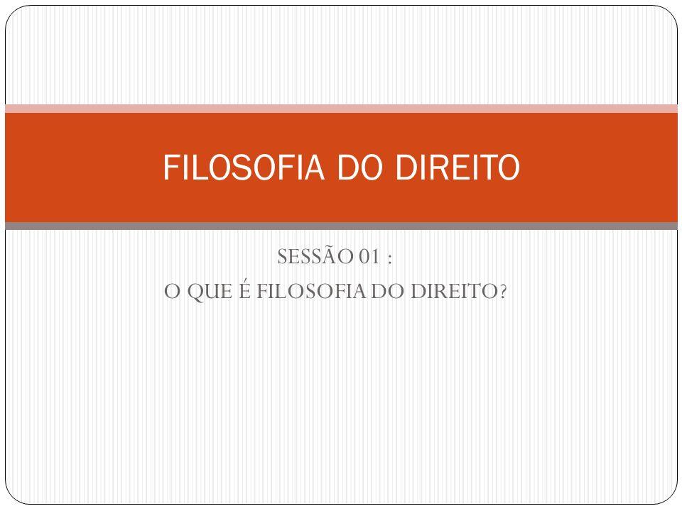 SESSÃO 01 : O QUE É FILOSOFIA DO DIREITO? FILOSOFIA DO DIREITO
