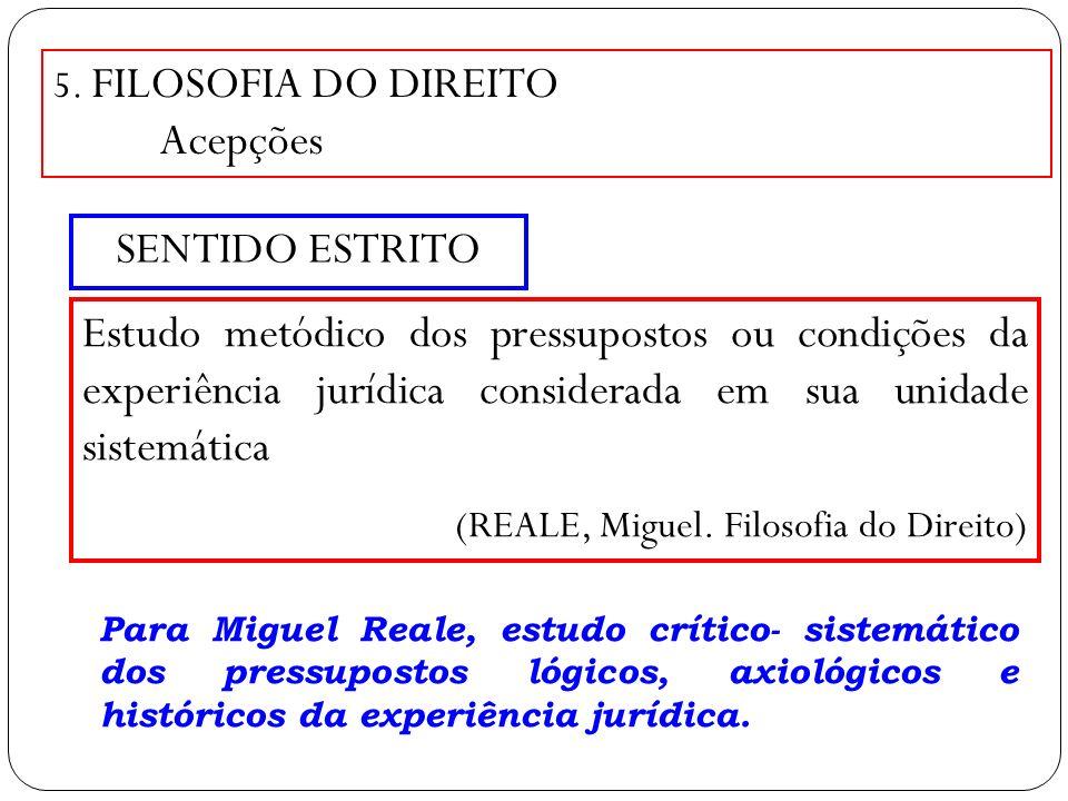 5. FILOSOFIA DO DIREITO Acepções SENTIDO ESTRITO Estudo metódico dos pressupostos ou condições da experiência jurídica considerada em sua unidade sist