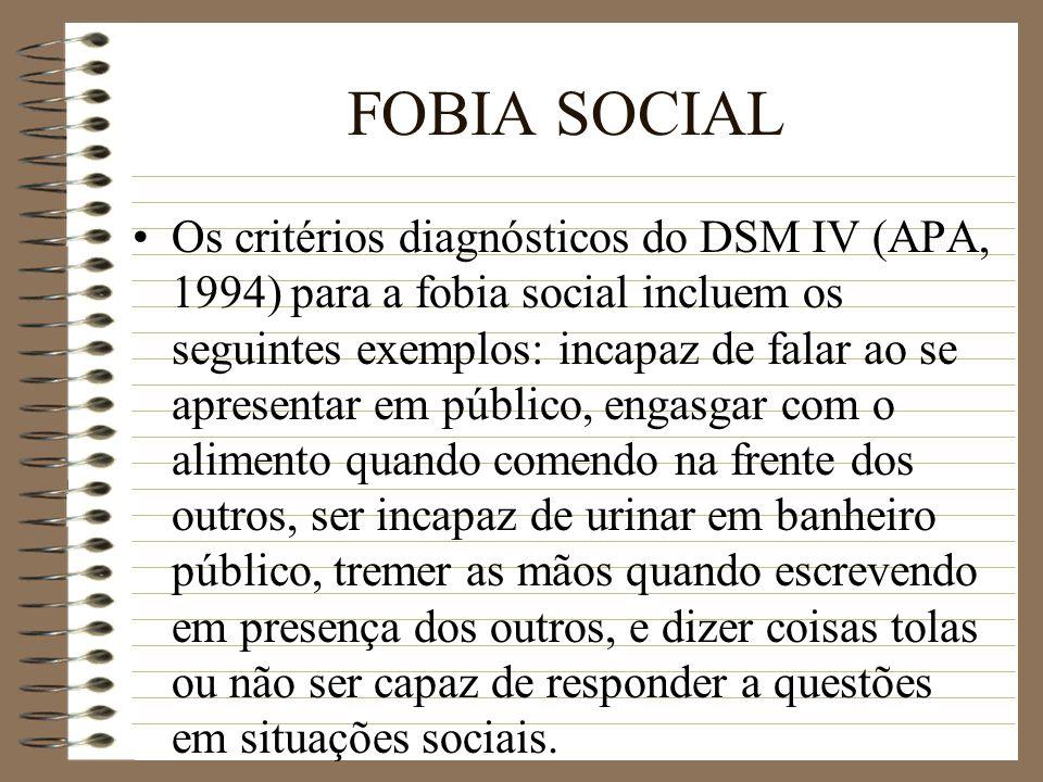 FOBIA SOCIAL Os critérios diagnósticos do DSM IV (APA, 1994) para a fobia social incluem os seguintes exemplos: incapaz de falar ao se apresentar em p