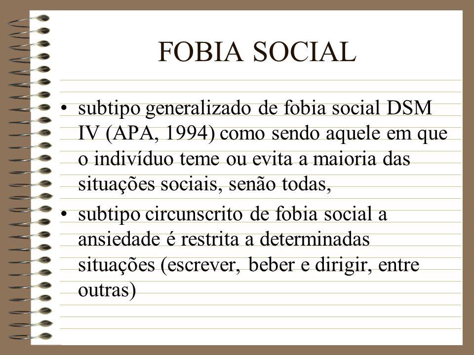 FOBIA SOCIAL subtipo generalizado de fobia social DSM IV (APA, 1994) como sendo aquele em que o indivíduo teme ou evita a maioria das situações sociai