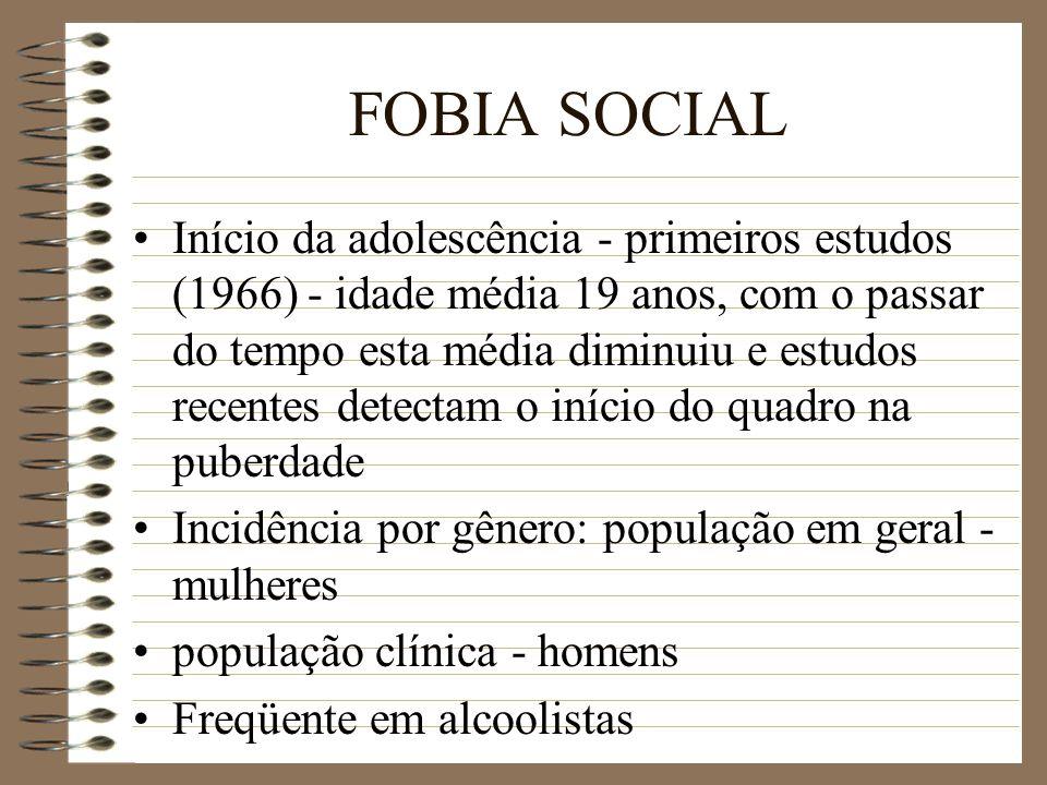 FOBIA SOCIAL Início da adolescência - primeiros estudos (1966) - idade média 19 anos, com o passar do tempo esta média diminuiu e estudos recentes det