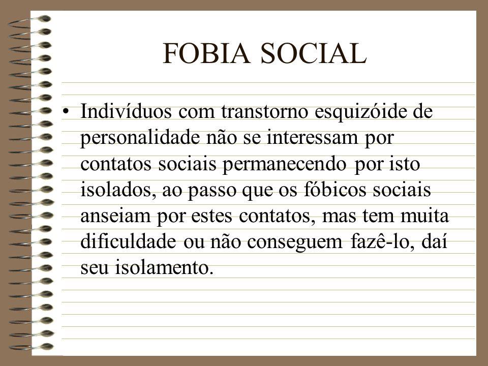 FOBIA SOCIAL Indivíduos com transtorno esquizóide de personalidade não se interessam por contatos sociais permanecendo por isto isolados, ao passo que