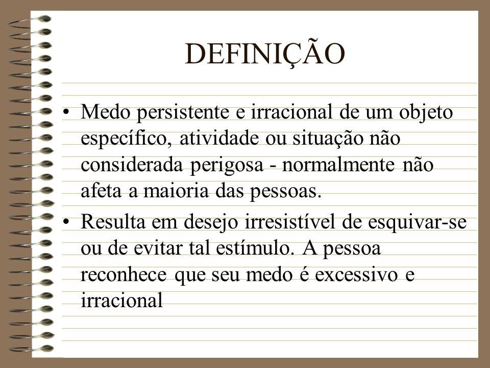 DEFINIÇÃO Medo persistente e irracional de um objeto específico, atividade ou situação não considerada perigosa - normalmente não afeta a maioria das