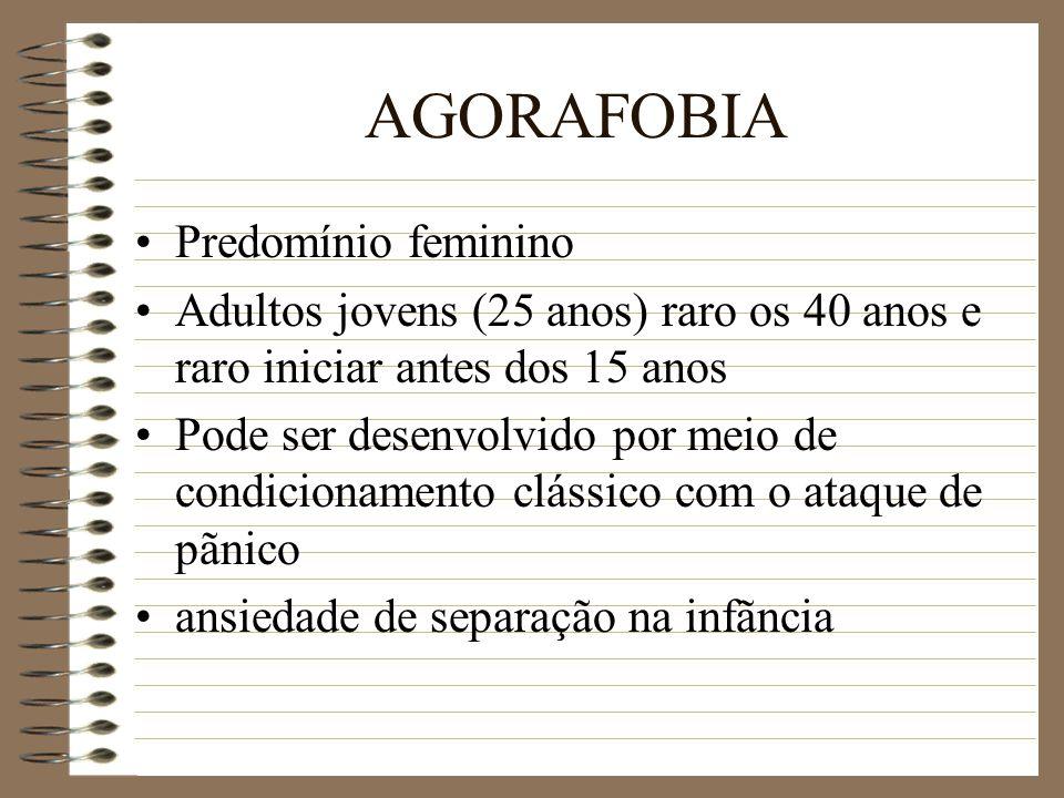 AGORAFOBIA Predomínio feminino Adultos jovens (25 anos) raro os 40 anos e raro iniciar antes dos 15 anos Pode ser desenvolvido por meio de condicionam