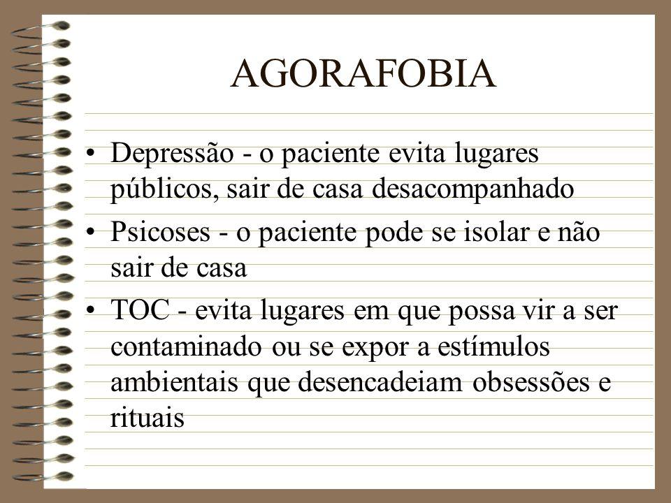 AGORAFOBIA Depressão - o paciente evita lugares públicos, sair de casa desacompanhado Psicoses - o paciente pode se isolar e não sair de casa TOC - ev