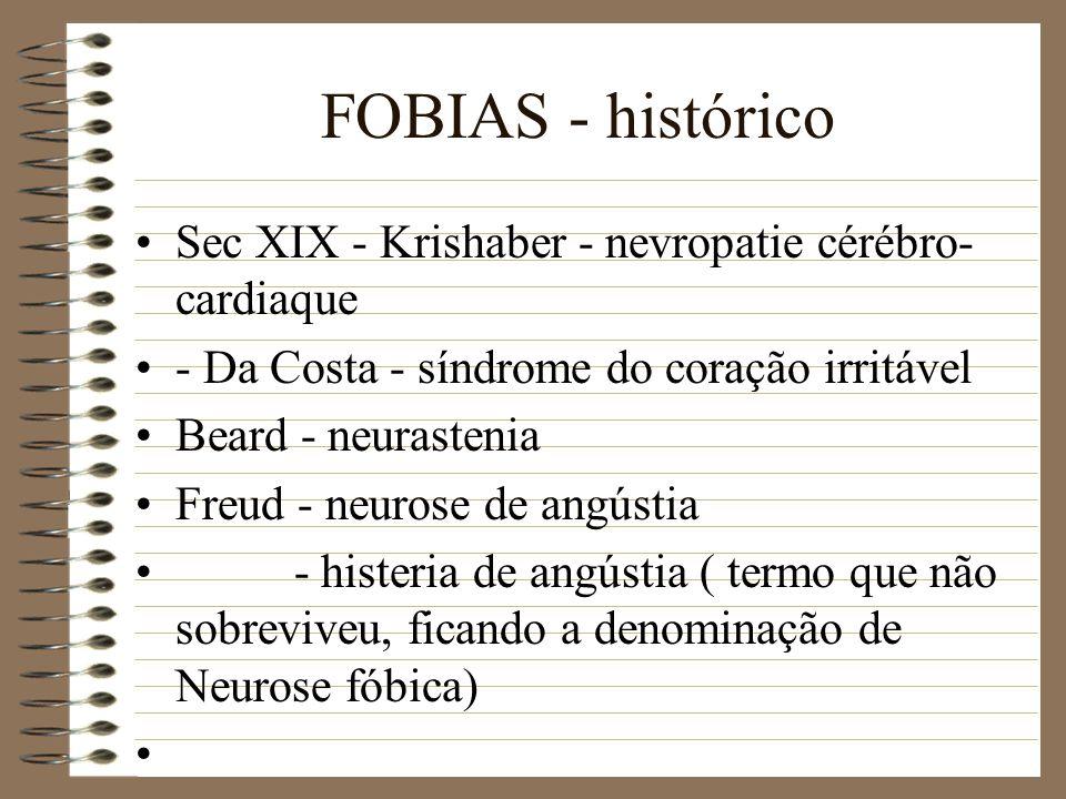 FOBIAS - histórico Sec XIX - Krishaber - nevropatie cérébro- cardiaque - Da Costa - síndrome do coração irritável Beard - neurastenia Freud - neurose