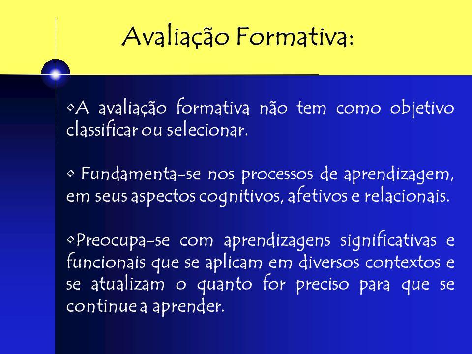 Avaliação Formativa Avaliação reguladora Avaliação Detalhada Avaliação contextualizada Avaliação mais educativa Avaliação de cunho formador