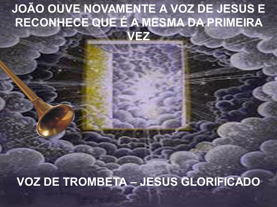 JOÃO OUVE NOVAMENTE A VOZ DE JESUS E RECONHECE QUE É A MESMA DA PRIMEIRA VEZ VOZ DE TROMBETA – JESUS GLORIFICADO
