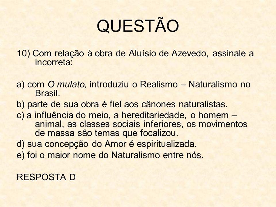 QUESTÃO 10) Com relação à obra de Aluísio de Azevedo, assinale a incorreta: a) com O mulato, introduziu o Realismo – Naturalismo no Brasil. b) parte d