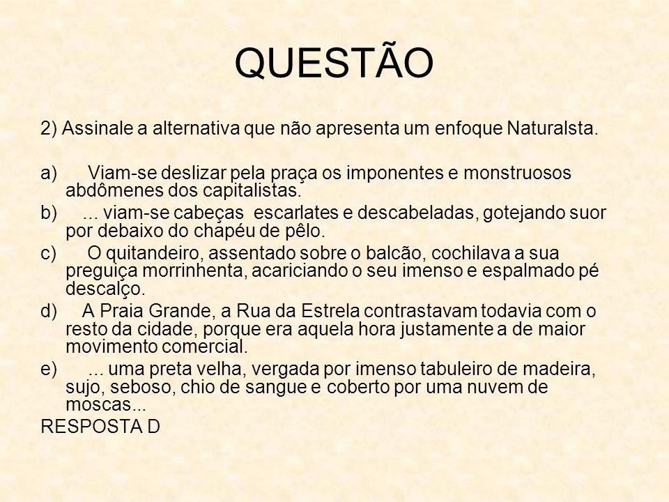 QUESTÃO 3) Assinale a alternativa falsa a respeito de O Cortiço.