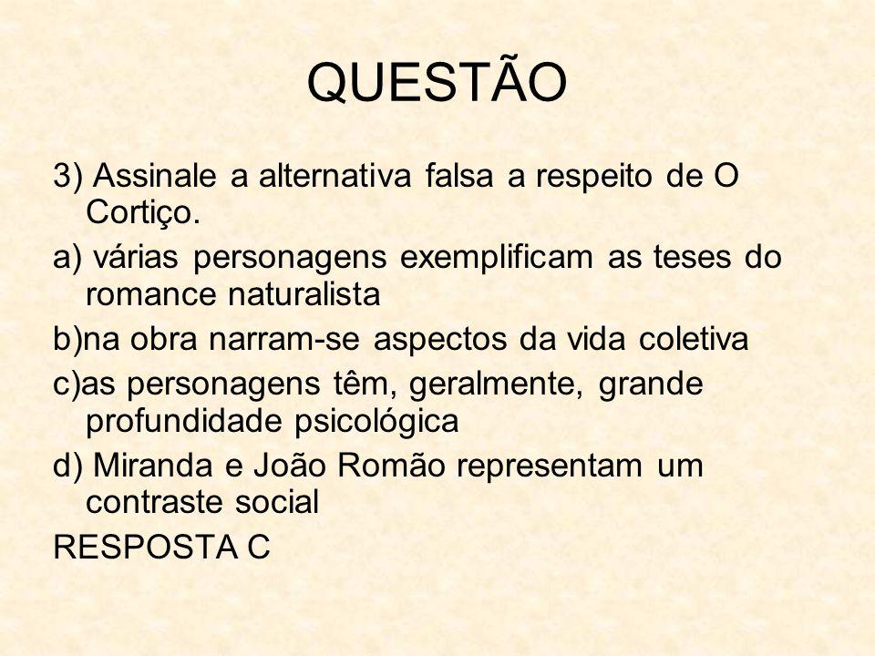 QUESTÃO 3) Assinale a alternativa falsa a respeito de O Cortiço. a) várias personagens exemplificam as teses do romance naturalista b)na obra narram-s