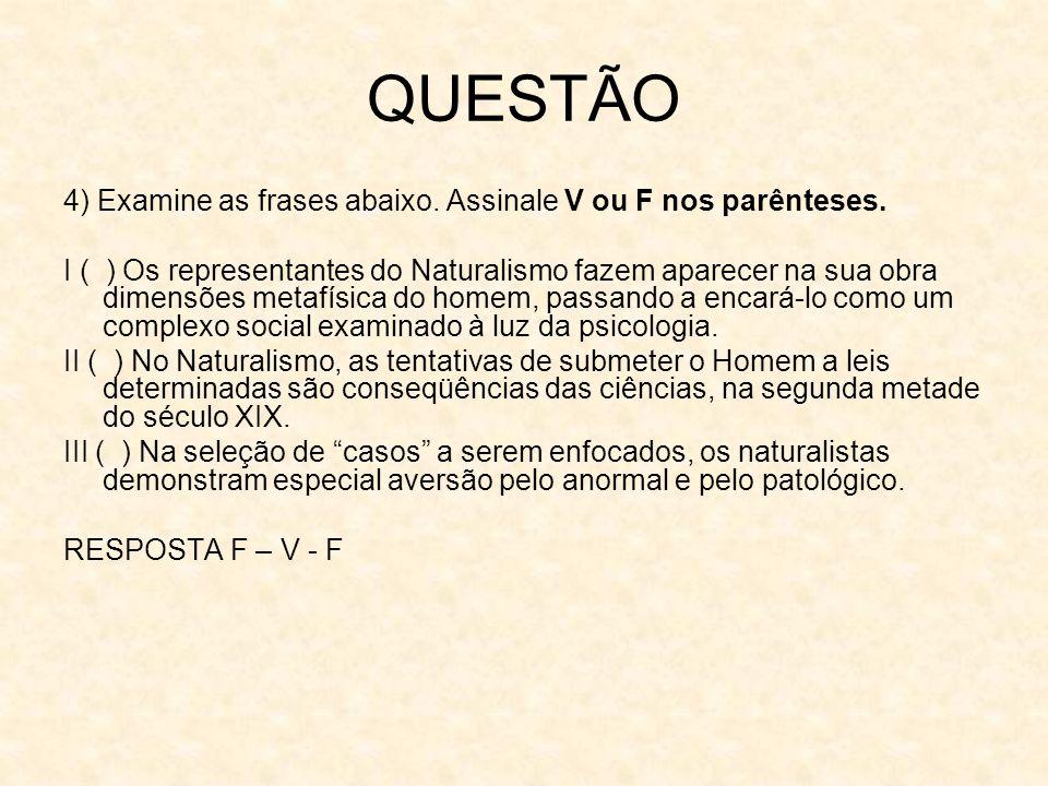 QUESTÃO 4) Examine as frases abaixo. Assinale V ou F nos parênteses. I ( ) Os representantes do Naturalismo fazem aparecer na sua obra dimensões metaf