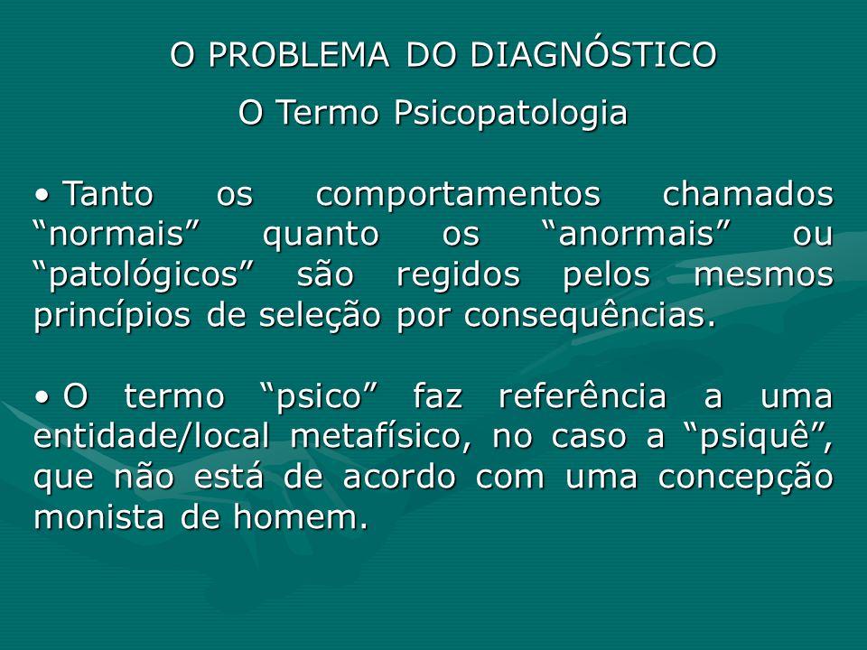 O Termo Psicopatologia Tanto os comportamentos chamados normais quanto os anormais ou patológicos são regidos pelos mesmos princípios de seleção por c
