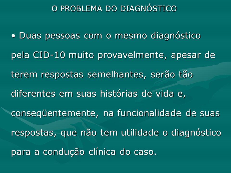 O PROBLEMA DO DIAGNÓSTICO Duas pessoas com o mesmo diagnóstico pela CID-10 muito provavelmente, apesar de terem respostas semelhantes, serão tão difer