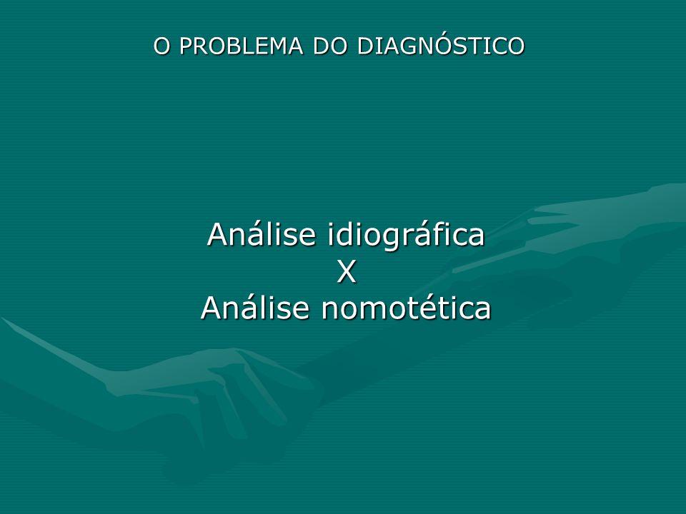 O PROBLEMA DO DIAGNÓSTICO Análise idiográfica X Análise nomotética