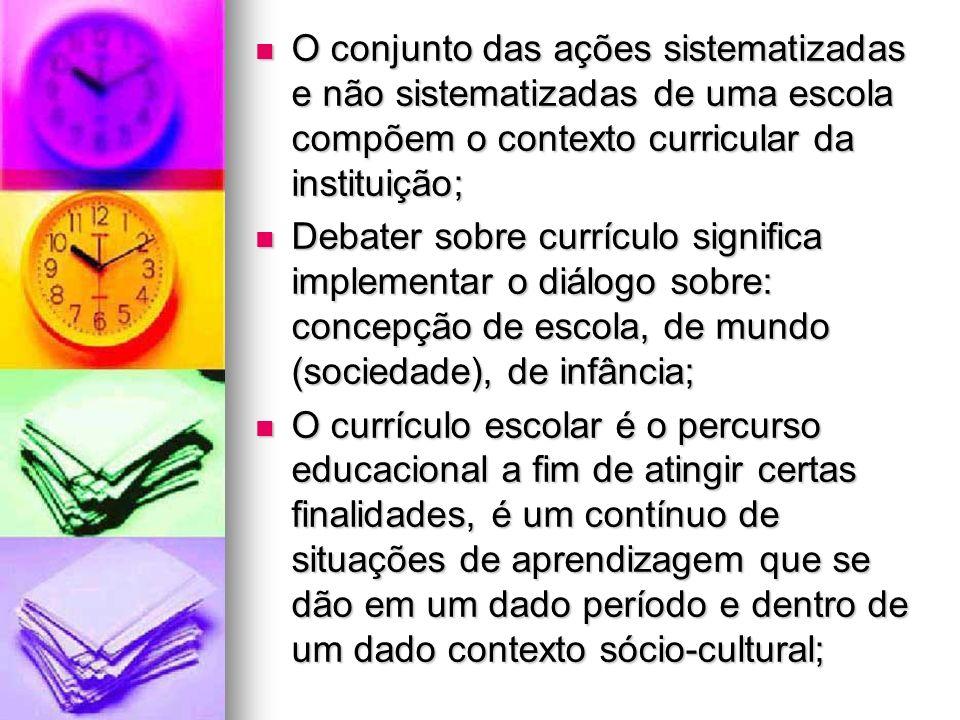 O conjunto das ações sistematizadas e não sistematizadas de uma escola compõem o contexto curricular da instituição; O conjunto das ações sistematizad