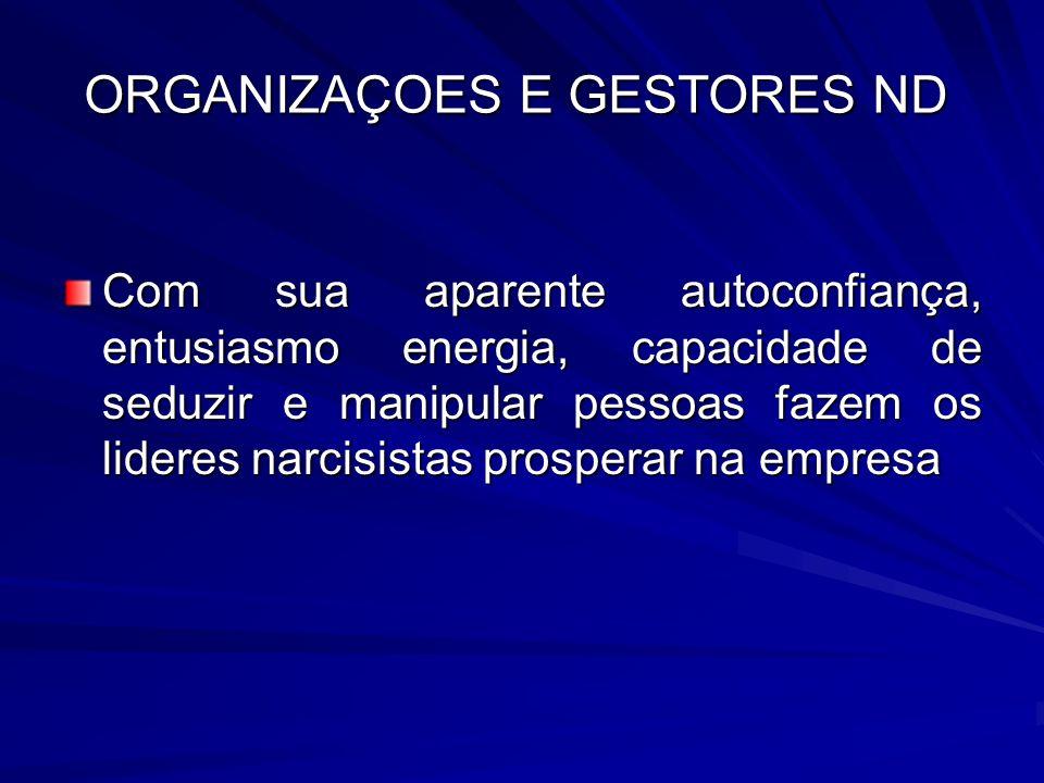 ORGANIZAÇOES E GESTORES ND Com sua aparente autoconfiança, entusiasmo energia, capacidade de seduzir e manipular pessoas fazem os lideres narcisistas