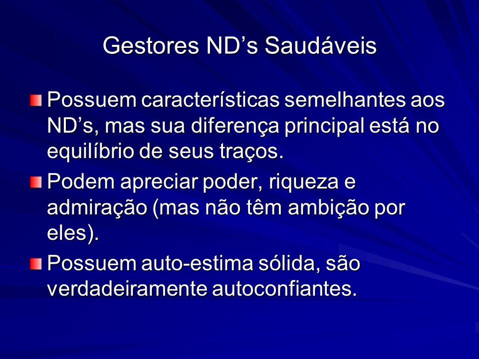 Gestores NDs Saudáveis Possuem características semelhantes aos NDs, mas sua diferença principal está no equilíbrio de seus traços. Podem apreciar pode