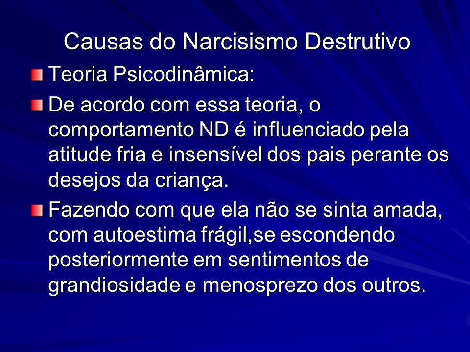 Causas do Narcisismo Destrutivo Teoria Psicodinâmica: De acordo com essa teoria, o comportamento ND é influenciado pela atitude fria e insensível dos