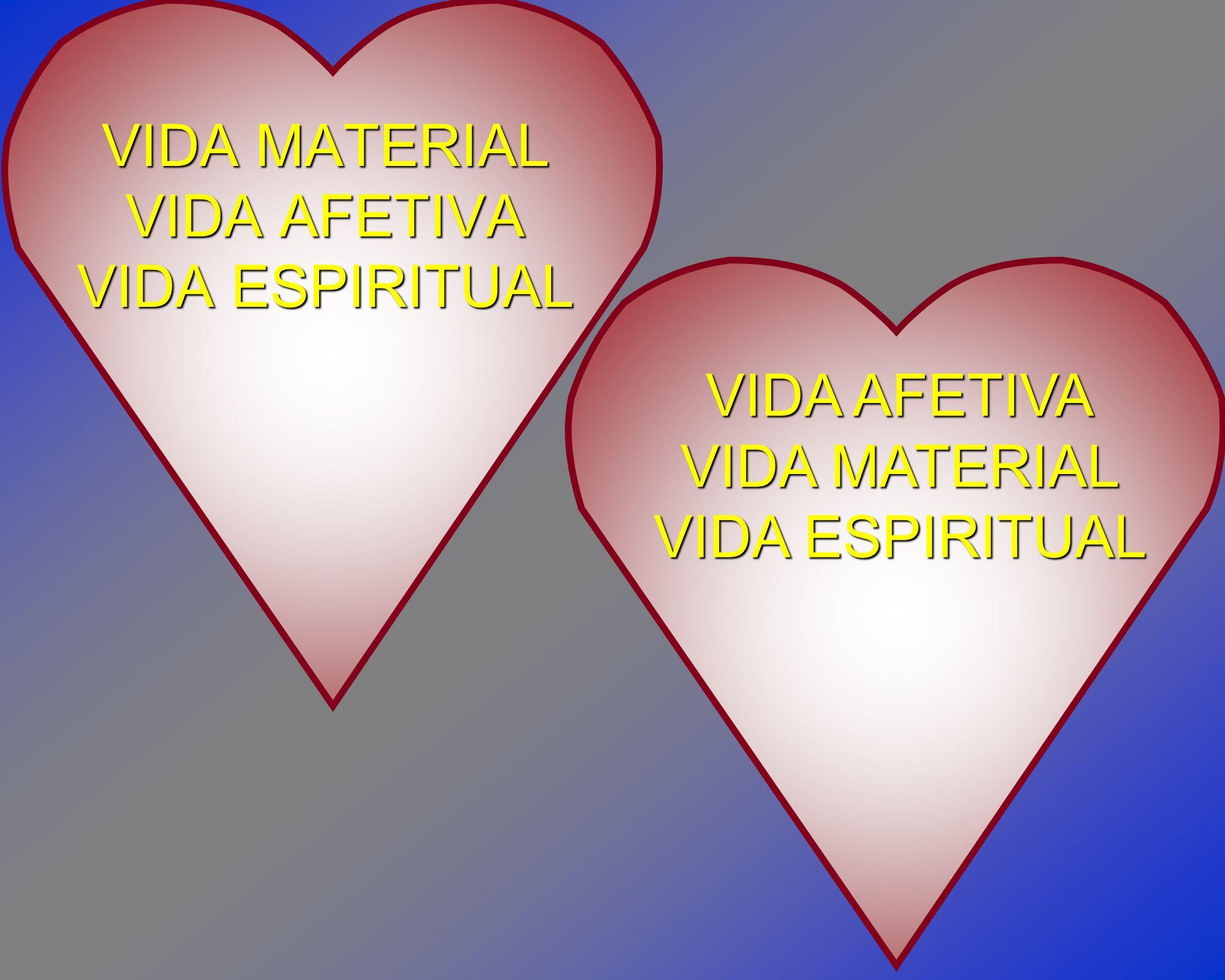 VIDA MATERIAL VIDA AFETIVA VIDA ESPIRITUAL VIDA AFETIVA VIDA MATERIAL VIDA ESPIRITUAL