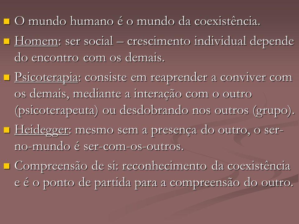 O mundo humano é o mundo da coexistência. O mundo humano é o mundo da coexistência. Homem: ser social – crescimento individual depende do encontro com