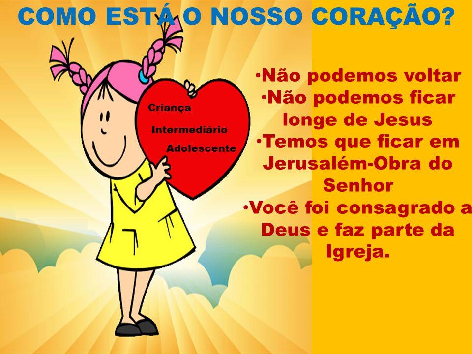COMO ESTÁ O NOSSO CORAÇÃO? Não podemos voltar Não podemos ficar longe de Jesus Temos que ficar em Jerusalém-Obra do Senhor Você foi consagrado a Deus