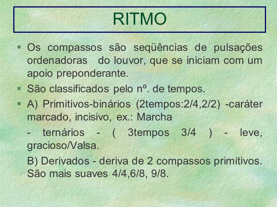 RITMO Os compassos são seqüências de pulsações ordenadoras do louvor, que se iniciam com um apoio preponderante. São classificados pelo nº. de tempos.