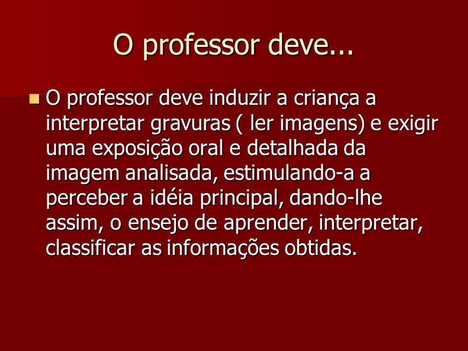 O professor deve... O professor deve induzir a criança a interpretar gravuras ( ler imagens) e exigir uma exposição oral e detalhada da imagem analisa
