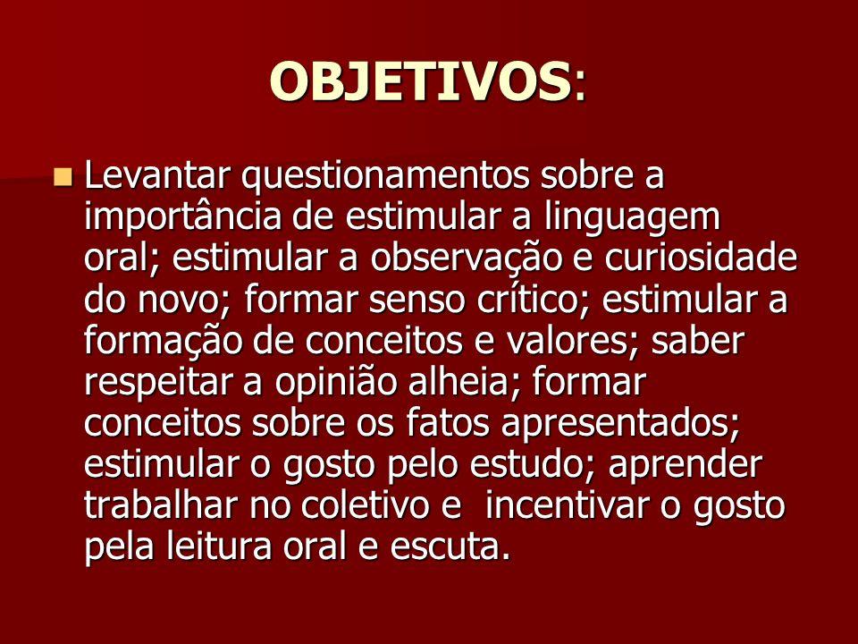 OBJETIVOS: Levantar questionamentos sobre a importância de estimular a linguagem oral; estimular a observação e curiosidade do novo; formar senso crít