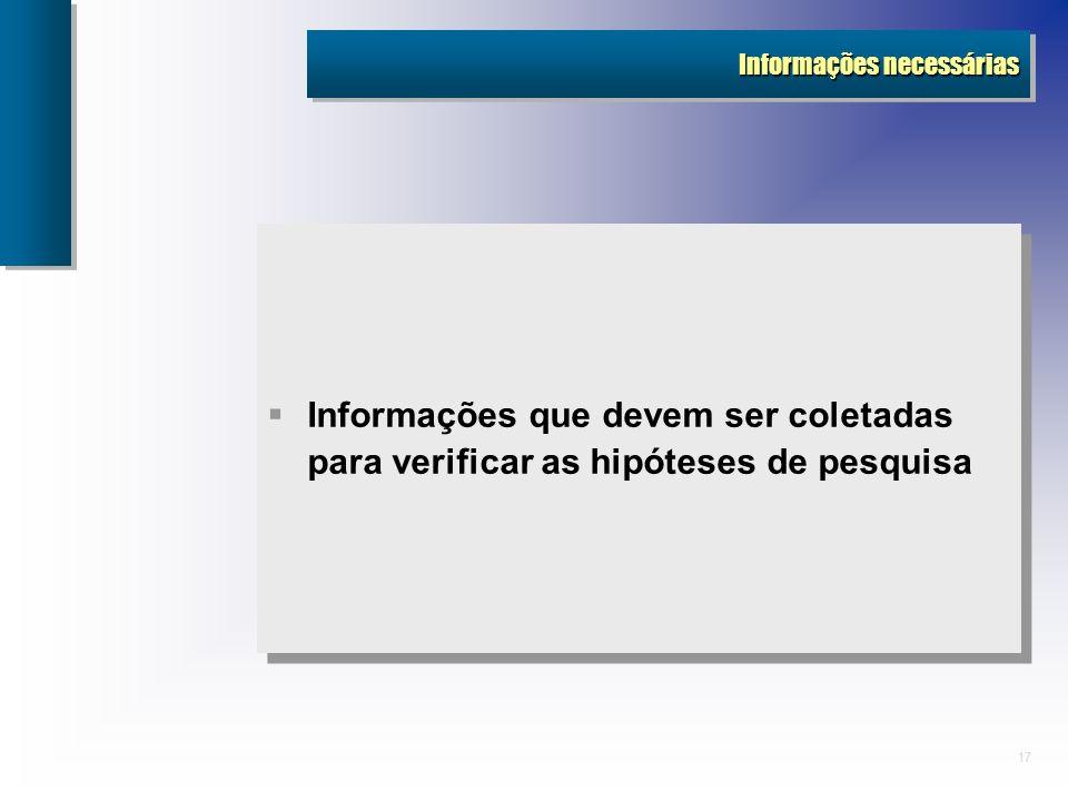 17 Informações necessárias Informações que devem ser coletadas para verificar as hipóteses de pesquisa