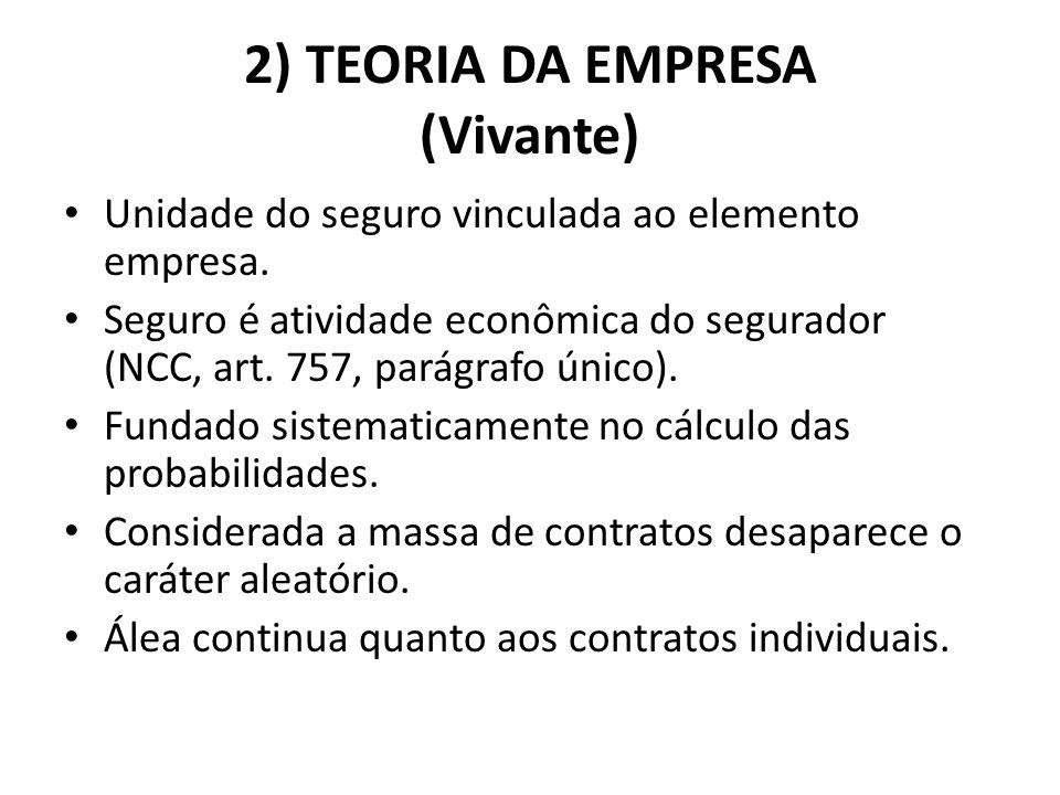 2) TEORIA DA EMPRESA (Vivante) Unidade do seguro vinculada ao elemento empresa. Seguro é atividade econômica do segurador (NCC, art. 757, parágrafo ún