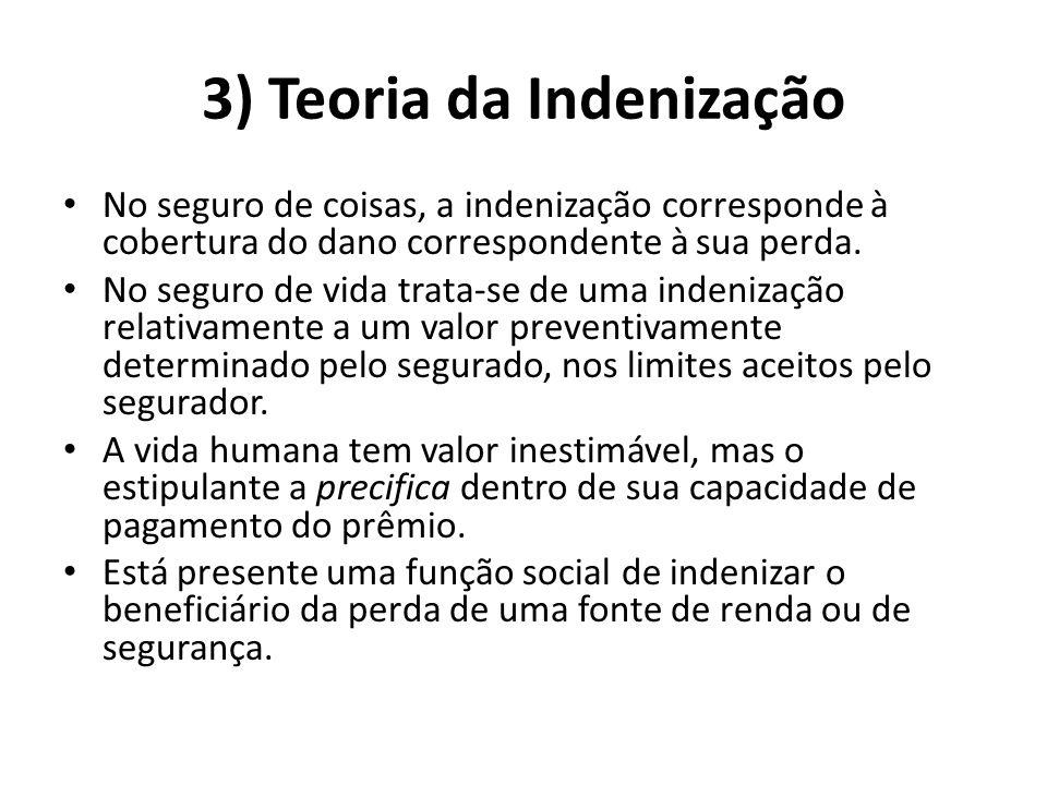 3) Teoria da Indenização No seguro de coisas, a indenização corresponde à cobertura do dano correspondente à sua perda. No seguro de vida trata-se de
