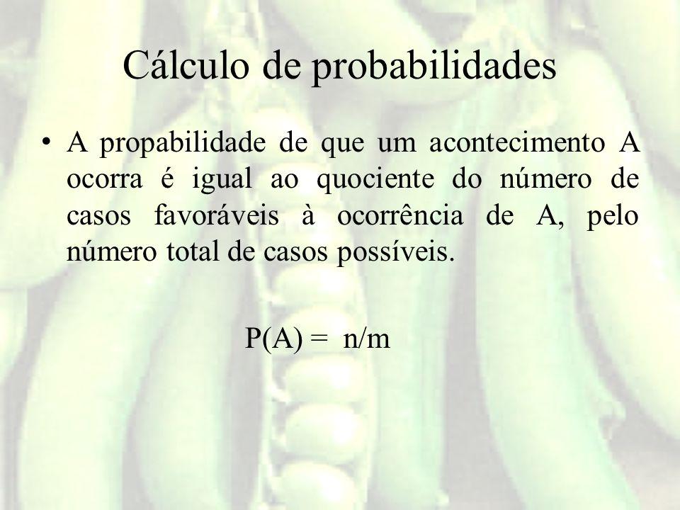 Cálculo de probabilidades A propabilidade de que um acontecimento A ocorra é igual ao quociente do número de casos favoráveis à ocorrência de A, pelo