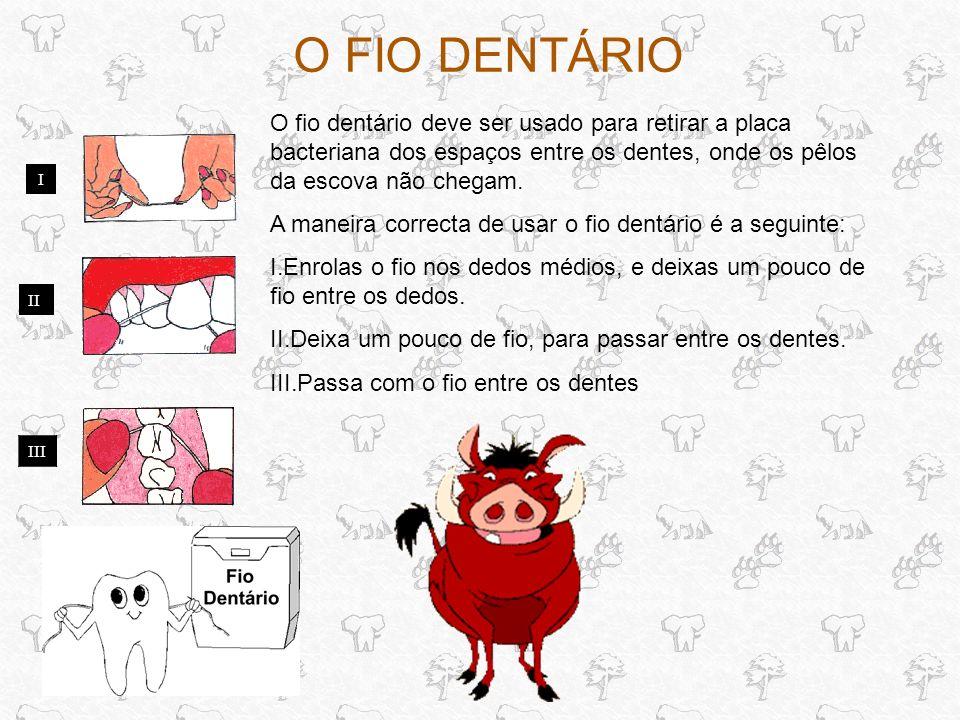 O FIO DENTÁRIO I II O fio dentário deve ser usado para retirar a placa bacteriana dos espaços entre os dentes, onde os pêlos da escova não chegam.