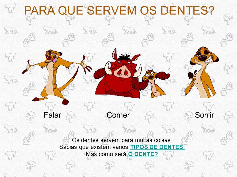 TIPOS DE DENTES Existem quatro tipos de dentes: OS INCISIVOS.OS INCISIVOS.