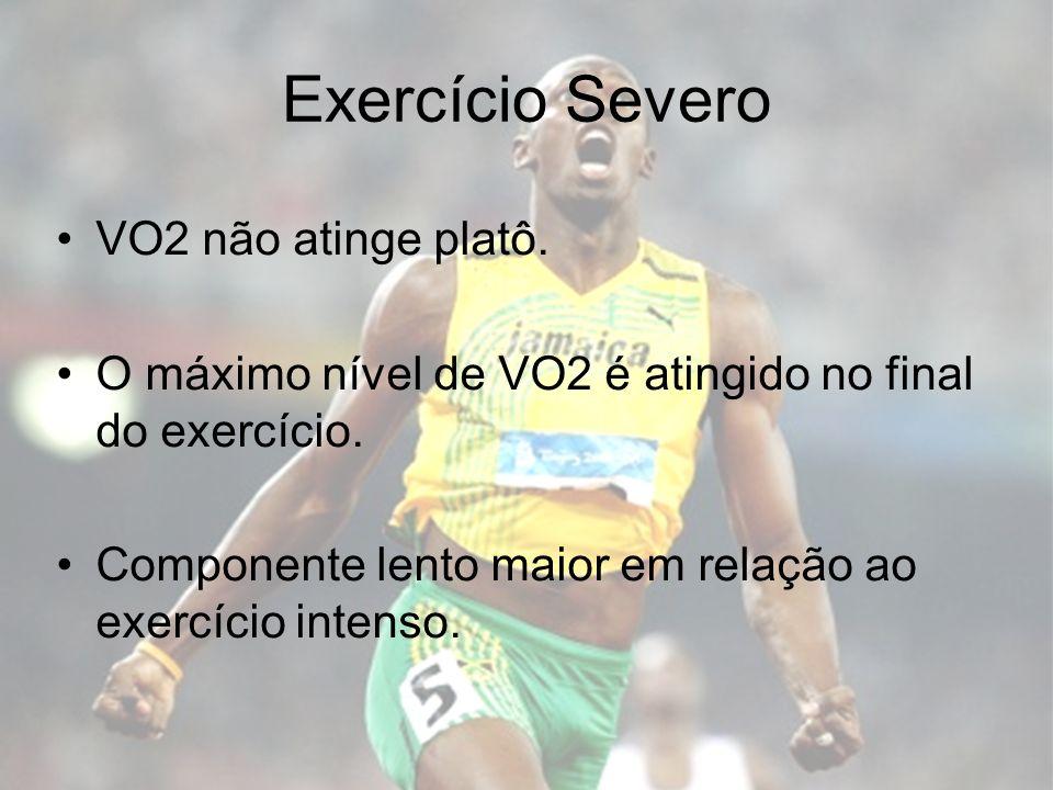 Exercício Severo VO2 não atinge platô. O máximo nível de VO2 é atingido no final do exercício. Componente lento maior em relação ao exercício intenso.