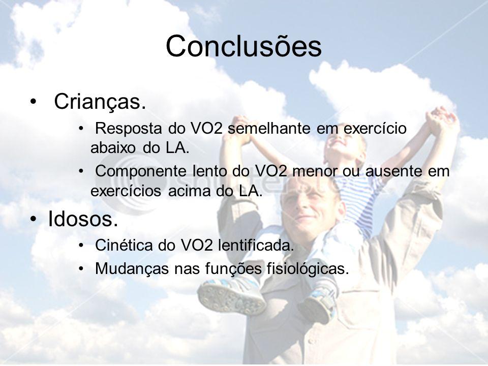 Crianças. Resposta do VO2 semelhante em exercício abaixo do LA. Componente lento do VO2 menor ou ausente em exercícios acima do LA. Idosos. Cinética d