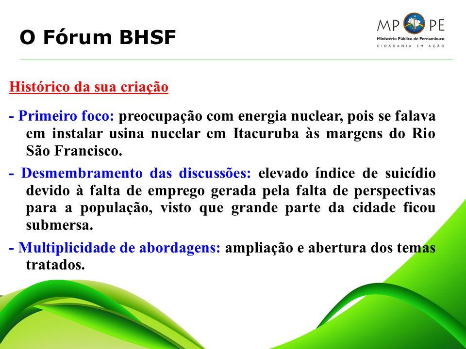 O Fórum BHSF Histórico da sua criação - Primeiro foco: preocupação com energia nuclear, pois se falava em instalar usina nucelar em Itacuruba às marge