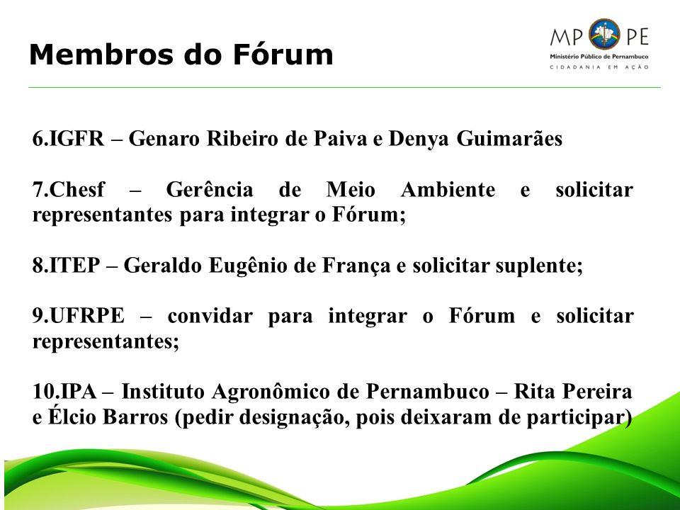 Membros do Fórum 6.IGFR – Genaro Ribeiro de Paiva e Denya Guimarães 7.Chesf – Gerência de Meio Ambiente e solicitar representantes para integrar o Fór