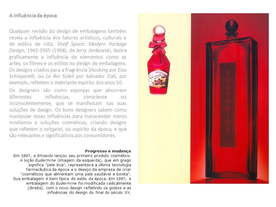 A influência da época Qualquer revisão do design de embalagens também revela a influência dos fatores artísticos, culturais e de estilos de vida. Shel