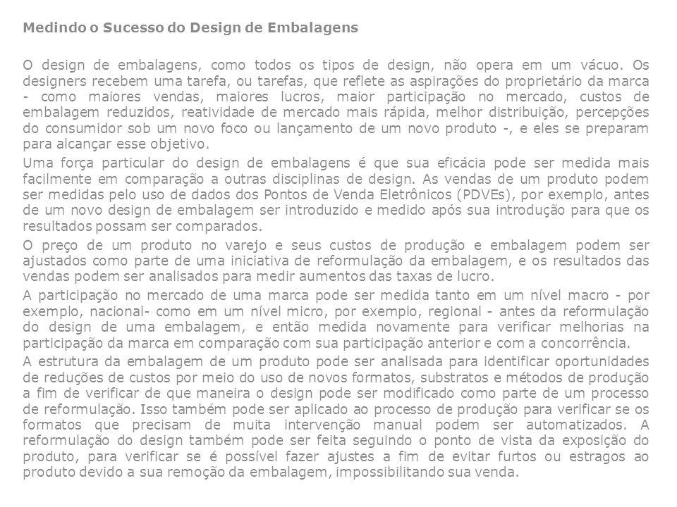 Medindo o Sucesso do Design de Embalagens O design de embalagens, como todos os tipos de design, não opera em um vácuo. Os designers recebem uma taref
