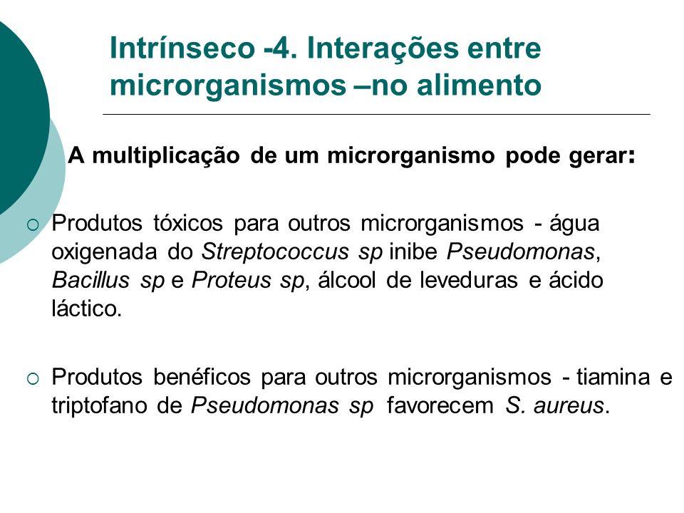 Intrínseco -4. Interações entre microrganismos –no alimento A multiplicação de um microrganismo pode gerar : Produtos tóxicos para outros microrganism