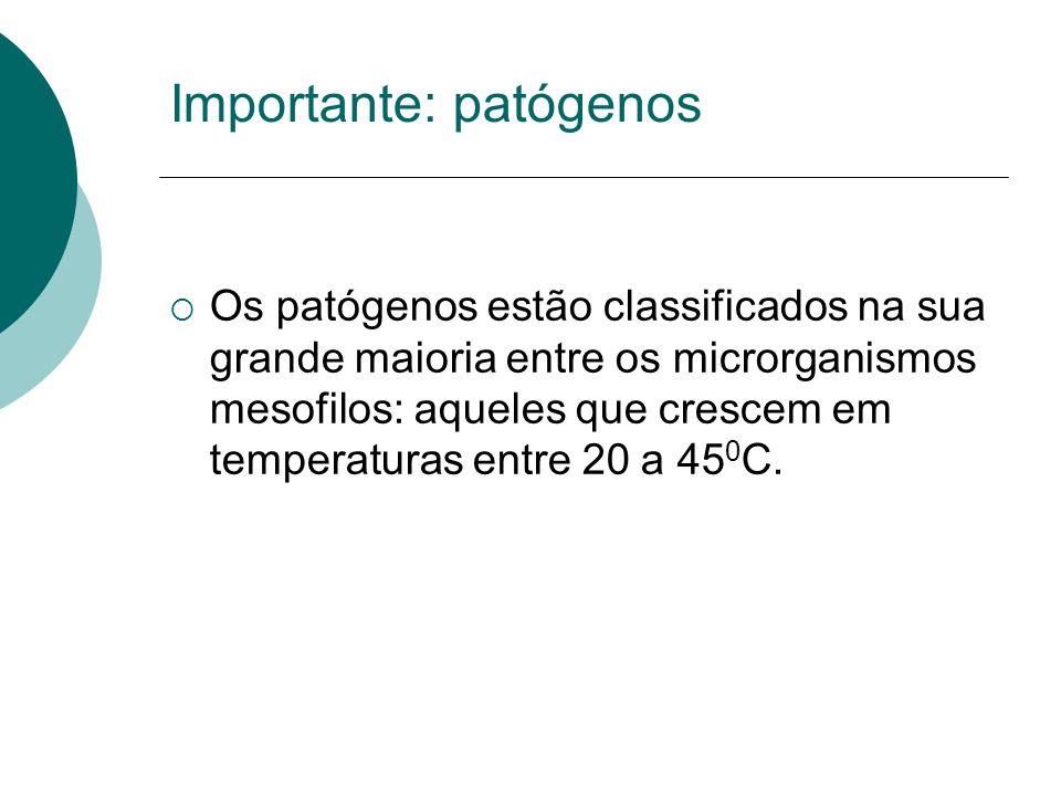 Importante: patógenos Os patógenos estão classificados na sua grande maioria entre os microrganismos mesofilos: aqueles que crescem em temperaturas en