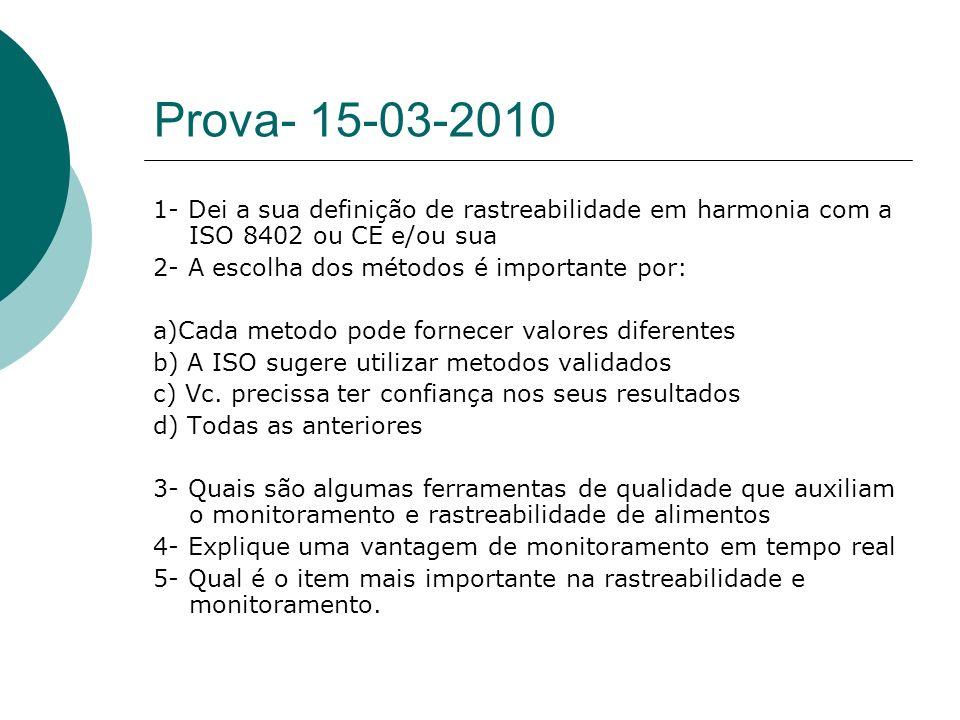 Prova- 15-03-2010 1- Dei a sua definição de rastreabilidade em harmonia com a ISO 8402 ou CE e/ou sua 2- A escolha dos métodos é importante por: a)Cad