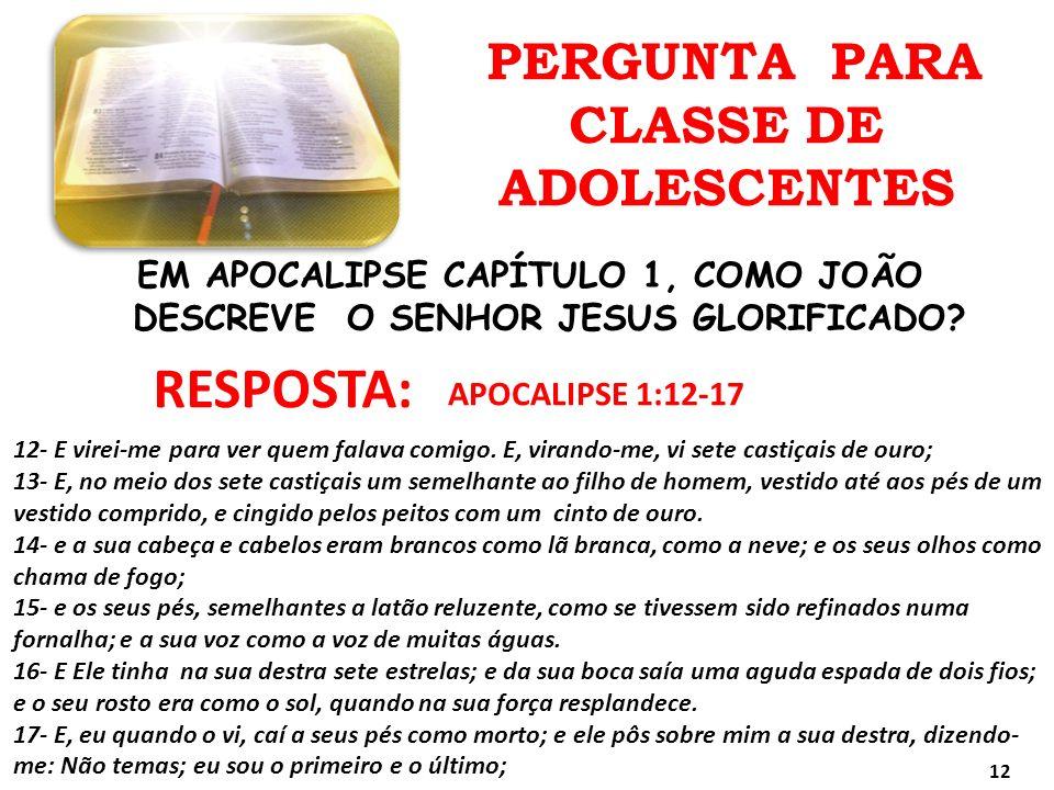 PERGUNTA PARA CLASSE DE ADOLESCENTES RESPOSTA: EM APOCALIPSE CAPÍTULO 1, COMO JOÃO DESCREVE O SENHOR JESUS GLORIFICADO? APOCALIPSE 1:12-17 12- E virei