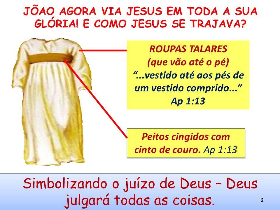 Peitos cingidos com cinto de couro. Ap 1:13 Simbolizando o juízo de Deus – Deus julgará todas as coisas. JÕAO AGORA VIA JESUS EM TODA A SUA GLÓRIA! E