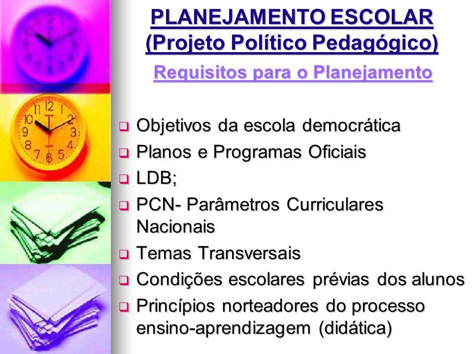 PLANEJAMENTO ESCOLAR (Projeto Político Pedagógico) Requisitos para o Planejamento Objetivos da escola democrática Objetivos da escola democrática Plan
