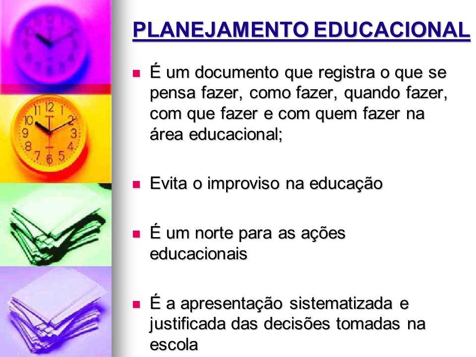 PLANEJAMENTO EDUCACIONAL É um documento que registra o que se pensa fazer, como fazer, quando fazer, com que fazer e com quem fazer na área educaciona