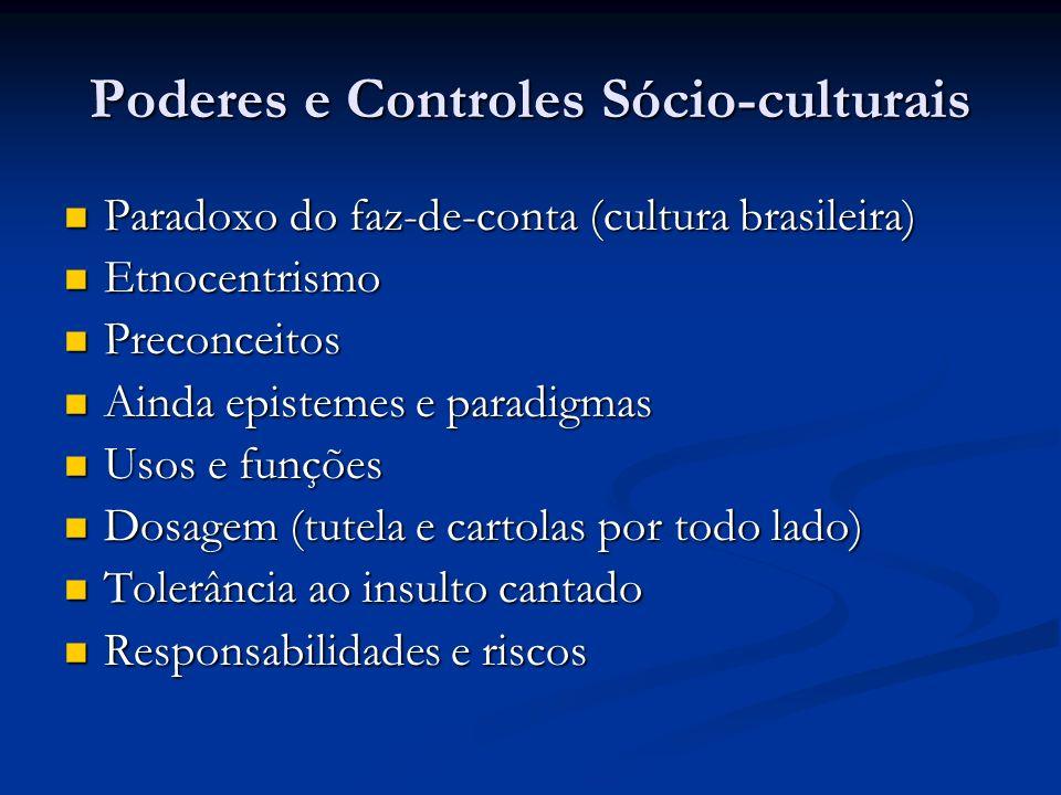 Poderes e Controles Sócio-culturais Paradoxo do faz-de-conta (cultura brasileira) Paradoxo do faz-de-conta (cultura brasileira) Etnocentrismo Etnocent