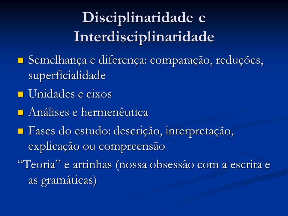 Disciplinaridade e Interdisciplinaridade Semelhança e diferença: comparação, reduções, superficialidade Semelhança e diferença: comparação, reduções,